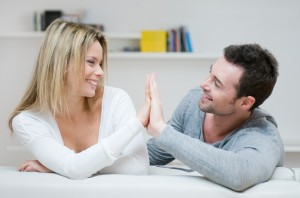 Young couple loving gesture
